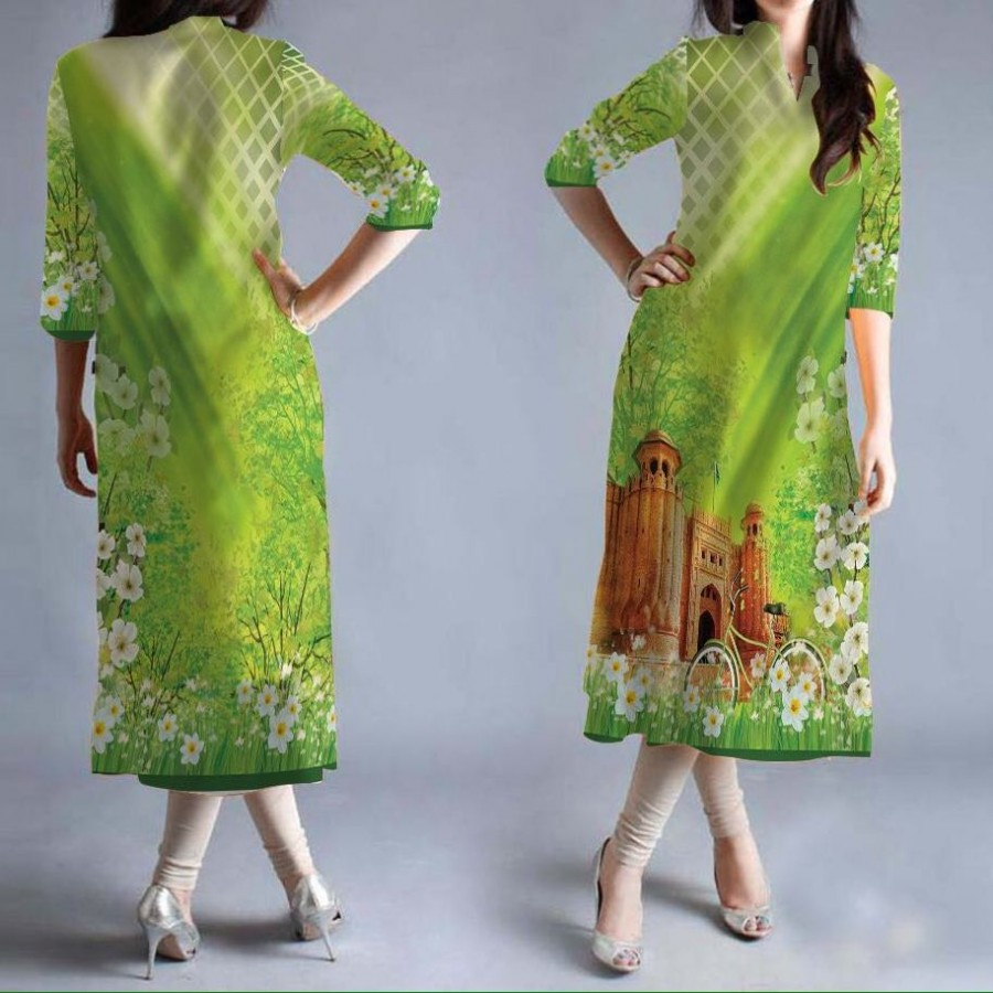 14th August Digital Printed Designer Kurti Un-stitched / Stitched PAK-024