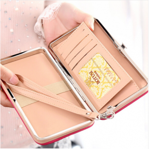 Single Color Digital Mobile Wallet or Clutch with Button Closure For Her