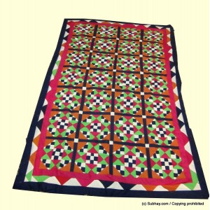 Multi Color Single Bed / Charpai Chadder Handmade Sindhi Tukri Ralli / Rally / Appliqued Bedset RBS-09