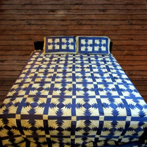 Pure Cotton Sateen Blue & Sea Green Handmade Sindhi Tukri Ralli / Rally / Appliqued Bedset RBS-06