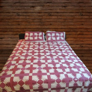 Pure Cotton Sateen Pink & Light Gray Handmade Sindhi Tukri Ralli / Rally / Appliqued Bedset RBS-07