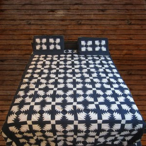 Pure Cotton Blue & White Colors Handmade Sindhi Tukri Ralli / Rally / Appliqued Bedset RBS-11