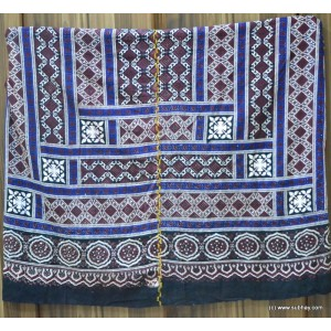 PURE COTTON HIGH QUALITY 2 PIECE BLOCK PRINTED SINDHI AJRAK SA-18 (BLUE AND WHITE)