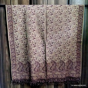 Cream Color Kashmiri / Pashmina Self Embroidered Shawl SHL-018