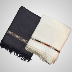Acro Woolen Black & White Color Kashmiri Dhussa Shawl SHL-028