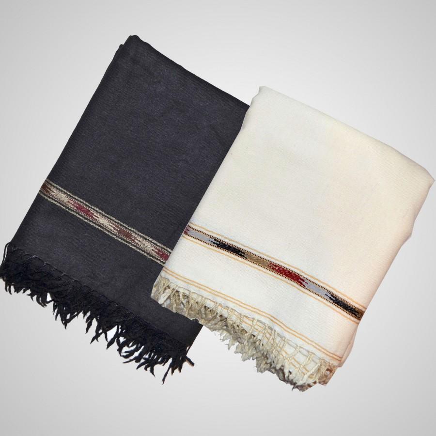 Acro Woolen Black & White Color Kashmiri Dhussa Shawl SHL-028