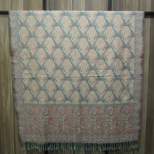 Cyan Color Indian Jamawar Style Self Embroidered Shawl SHL-54