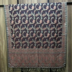 Cyan Color Indian Jamawar Style Self Embroidered Shawl SHL-53