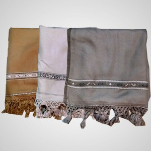 Acro Woolen Brown, Ivory & Grey Color Dhussa Shawl For Men / Women SHL-036