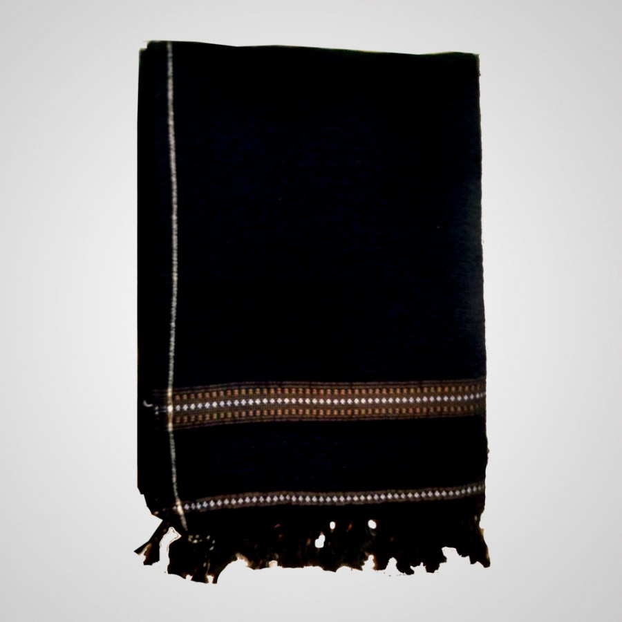 Black Velvet Pure Dussa / Khamdar Shawl SHL-037 By Khan Culture
