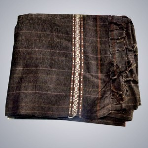 Dark Brown Color Velvet Dussa / Khamdar Shawl SHL-048 By Khan Culture