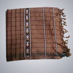 Checkered Brown Color Velvet Dussa / Khamdar Shawl SHL-049 By Khan Culture