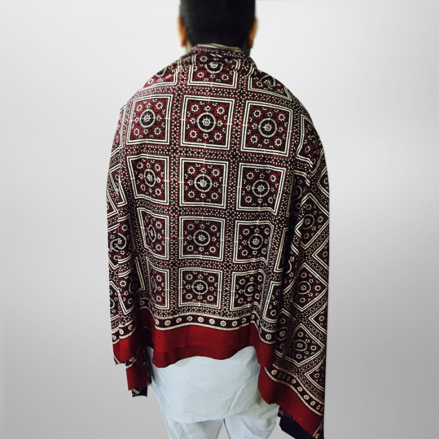 Pure Cotton Herbal Dyed Block Printed Sindhi Ajrak (Original) SA-28-2