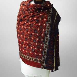 Pure Cotton Herbal Dyed Block Printed Sindhi Ajrak (Original) SA-28-1