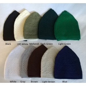 1 DOZEN MACHINE KNIT OPEN-WORK TURKISH KUFI / TOPI / TAKKE / CAP FOR RS. 799/-