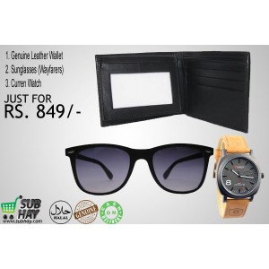 UDHAM DEAL#1: Wayfarer Sunglasses, Curren Watch & Genuine Leather Wallet Just For Rs. 849/-