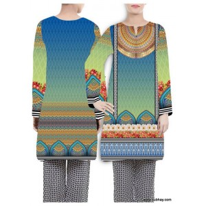 Blue Abstract Digital Printed Designer Kurti W360-010