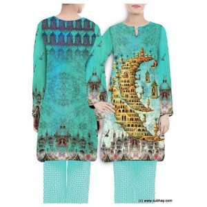 Blue Digital Printed Designer Kurti W360-009