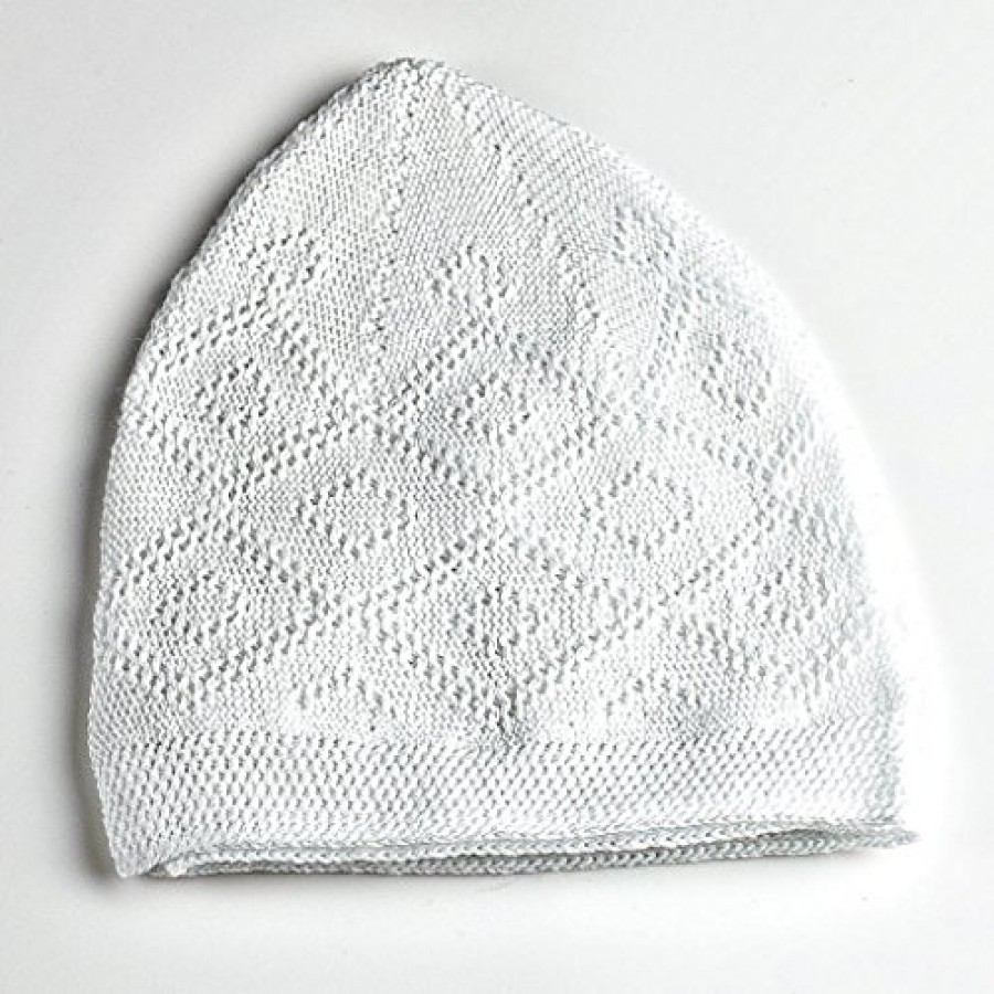 78abd5a6725 Buy WHITE MACHINE KNIT OPEN-WORK TURKISH KUFI   TOPI   TAKKE   CAP - Online  in Pakistan