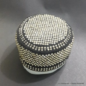 Black Color Round Full Sindhi Nagina /  Zircon Cap or Topi MKC-634