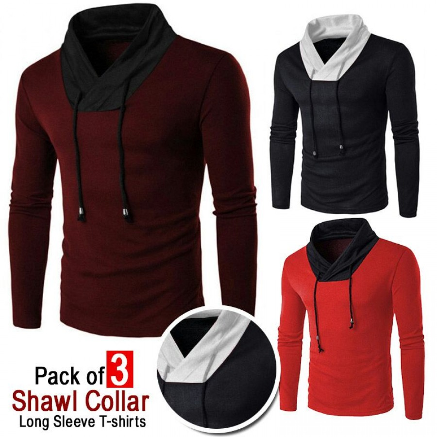 Buy online in pakistan pack of 3 shawl collar t shirt tsf for Shawl collar t shirt