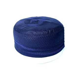 Navy Blue Cloth Contrasting Bokies Prayer Cap / Namaz Topi